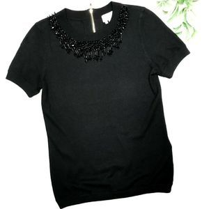 KATE SPADE | sz XS short sleeve beaded sweater